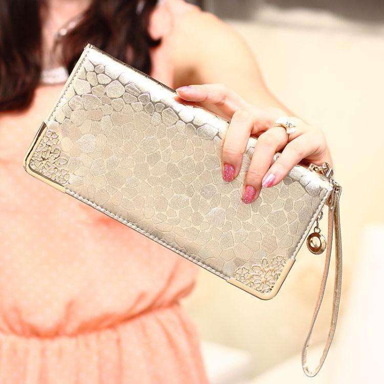 厂家批发新款韩版金银色石头纹时尚长款女钱包手拿包一件代发Y072