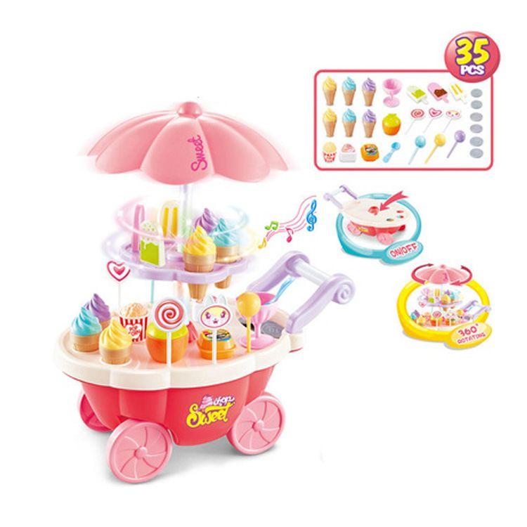 跨境外贸仿真迷你小手推车女孩糖果车冰淇淋店儿童过家家灯光玩具