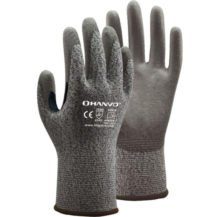 防切割手套*13G HPPE防割功能手套芯掌浸灰PU QPE330