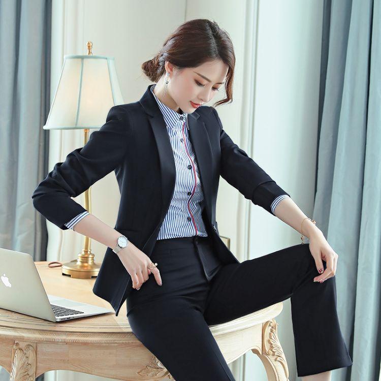 职业装女套装时尚面试气质韩版修身白领销售正装工作服一件代发
