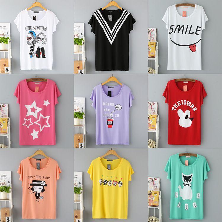 2018夏季新款韩版大码时尚女装 女式短袖t恤 宽松大码蝙蝠袖T恤