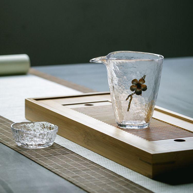 耐热玻璃公道杯大容量透明纯锡匀公杯茶海日式分茶器功夫茶具配件