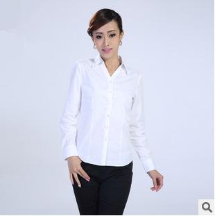 劳保职业装商务白色简单修身款 男女长袖细斜纹翻领春秋夏季衬衫