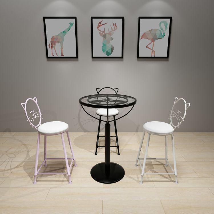 北欧高脚咖啡厅三件套桌椅网红奶茶店咖啡厅少女心高脚凳休闲吧