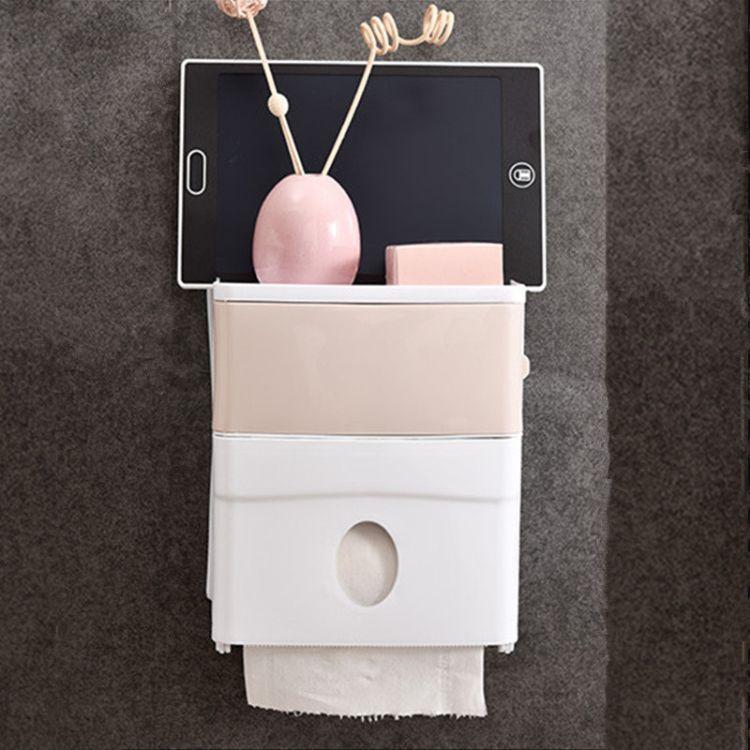 厂家直销防水防尘防淋免打孔浴室纸巾盒无痕贴创新卷纸器一件代发