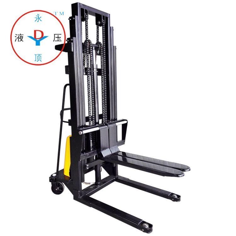 1吨4米仓库用手推电动叉车 3节门架液压堆高车 半电动堆高机