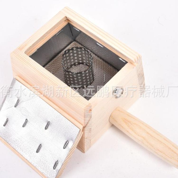 纯实木加厚木制单格温灸盒 木单柱艾盒 单孔艾灸盒 艾条艾绒