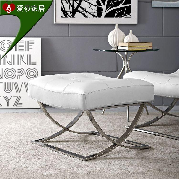 厂家批发布艺沙发小户型北欧现代简约客厅转角沙发凳不锈钢脚凳