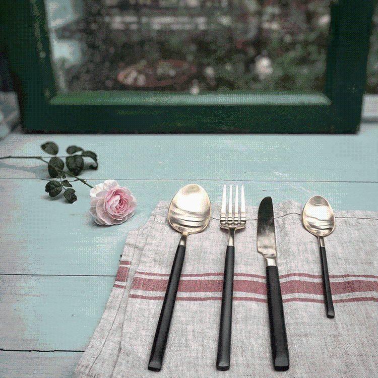 不锈钢西餐餐具工艺礼品丨黑金手柄哑光真金头叶丨刀叉勺三件套装