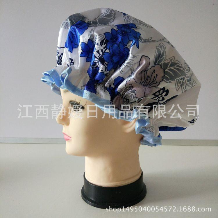 厂家批发青花瓷印花色丁布PEVA防水双层浴帽防油烟帽女士外贸热销