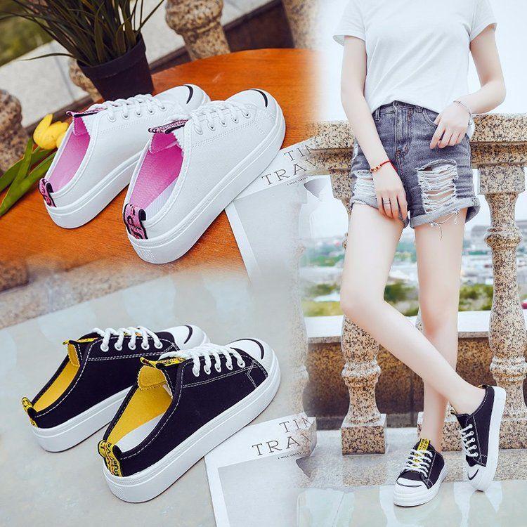 小白鞋女学生百搭韩版2018春夏新款帆布鞋女包头半拖鞋外穿厚底鞋