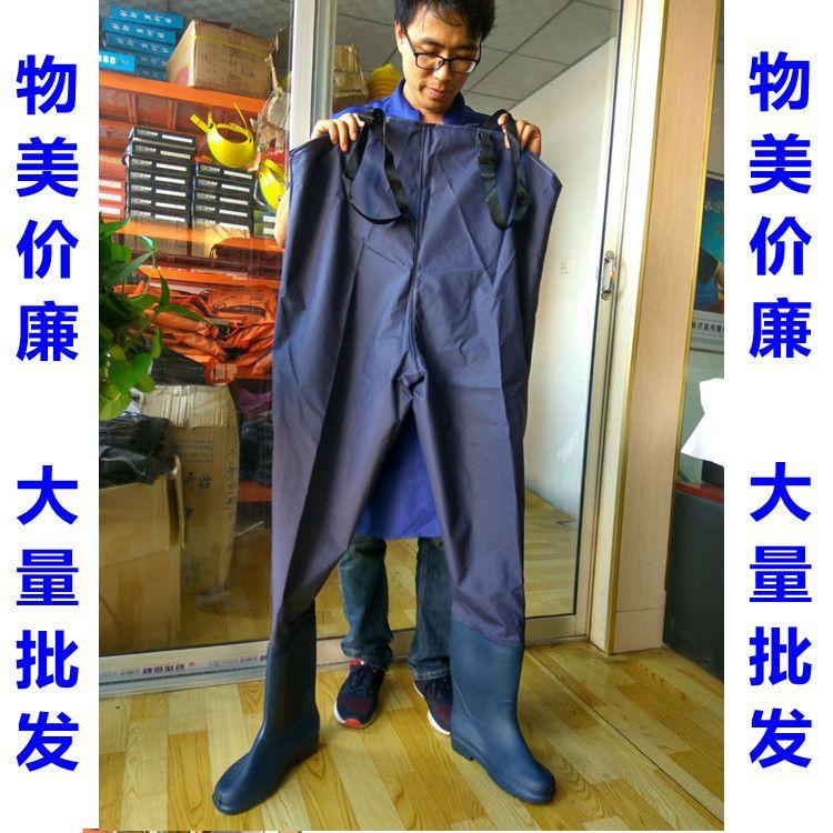 下水裤连体钓鱼裤 防水服 连体下水雨裤皮叉捕鱼钓鱼裤 背带裤