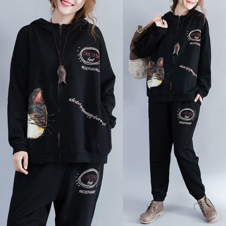 2018秋冬新款卫衣两件套女大码宽松纯棉卡通印花开衫套装一件代发