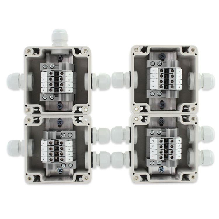 户外防水端子盒 F25一进一出二出三通6位UK端子接线盒  防尘盒