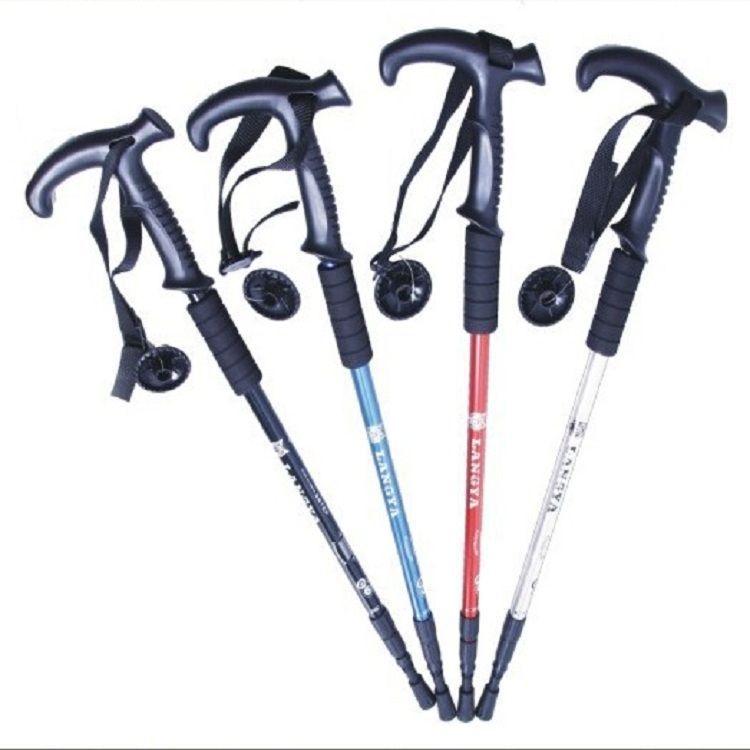 供应:3节T型弯柄铝合金登山杖,户外伸缩老人杖