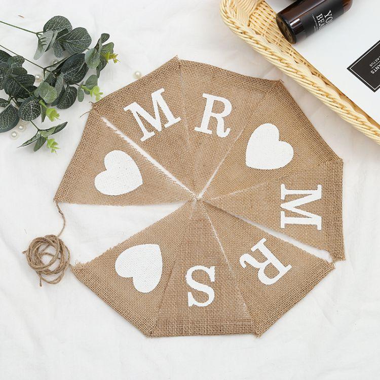 英文字母 MRS爱心三角旗 派对拉旗 婚庆彩旗欧美婚礼装饰用麻布