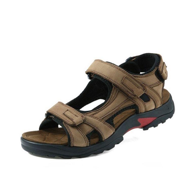 2018夏季新款男式凉鞋时尚头层皮沙滩鞋男户外运动风男鞋一件批发