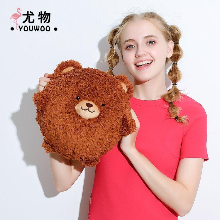 秋冬新款可爱卡通韩版小熊造型毛绒充电式热水袋防爆可