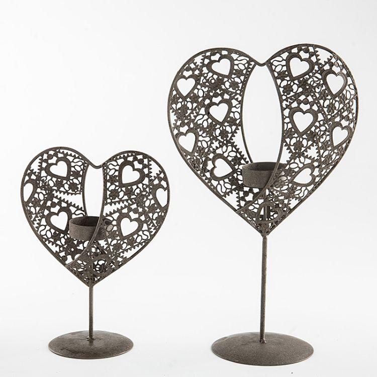 厂家直销 双边错位式心形烛台 复古精致浪漫双边错位式心形烛台