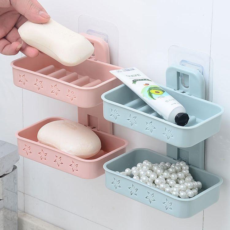 双层肥皂盒壁挂吸盘沥水香皂盒静电贴式卫生间洗衣皂架创意免打孔