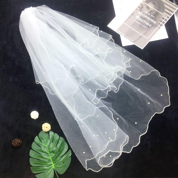 新款 欧美 带梳子 新娘珍珠头纱  单身派对 新娘派对 头纱