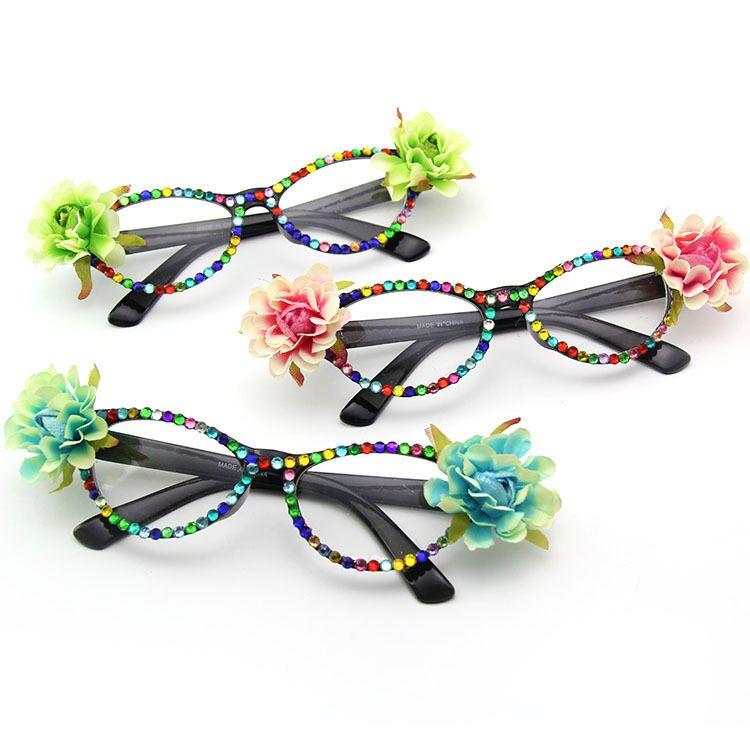 亚马逊热销爆款花朵镶钻派对眼镜 舞会装扮墨镜 猫眼太阳镜 批发