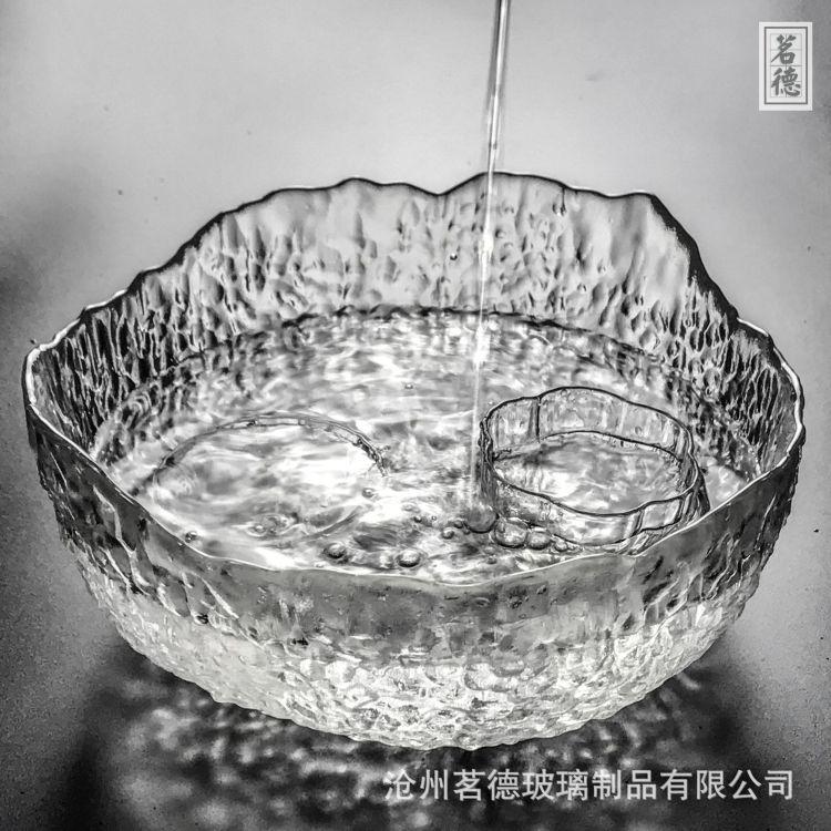 厂家直销玻璃茶洗大号家用水洗碗日式锤纹功夫茶具茶道零配件果盘