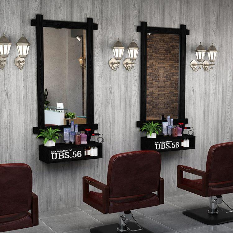 特价实木复古理发店镜子美发店镜台化妆单面镜框发廊落地试衣挂镜