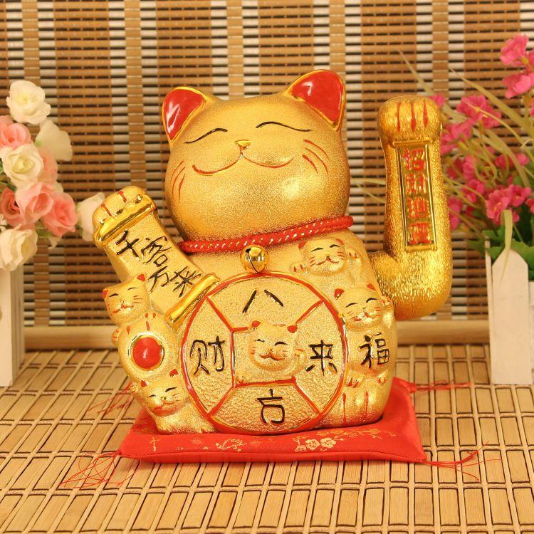 11寸大只新款创意金沙色招财猫陶瓷工艺摆件店铺收银台开业送礼品