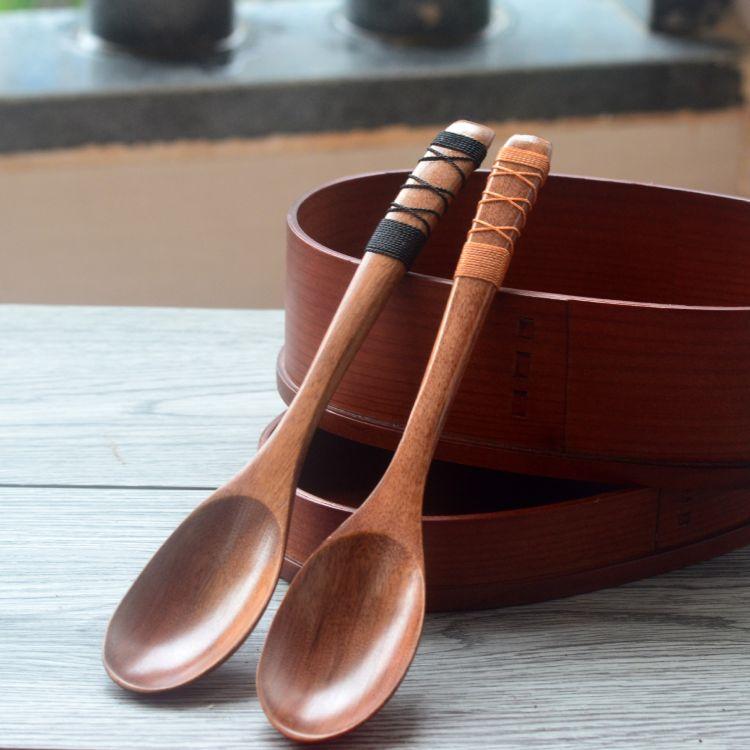 日式长柄防滑木勺子 大漆搅拌勺 厂家直销 餐具批发