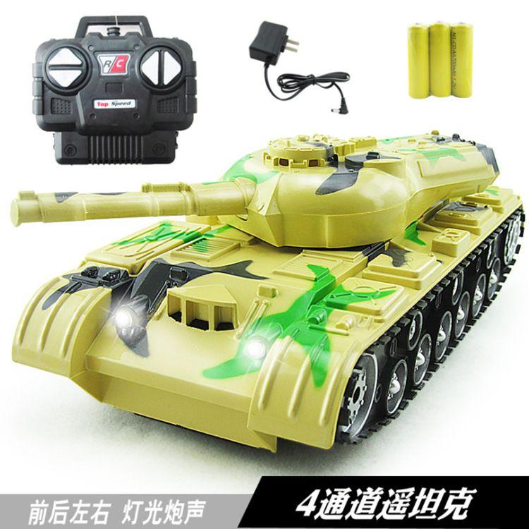 批发1:22声光四通充电遥控坦克玩具 儿童仿真模型电动遥控汽车