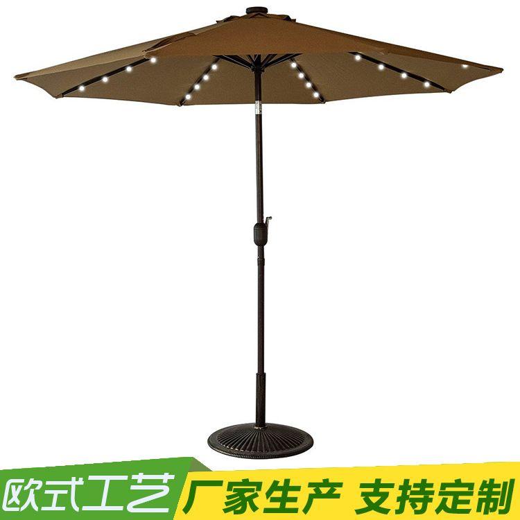 专业供应户外太阳能供电32-LED户外天井伞与曲柄和倾斜太阳伞休闲