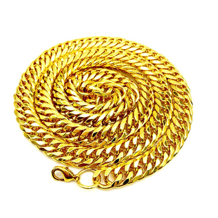 厂家直销批发男士欧美嘻哈镀金项链10MM菱形密纹磨链18k古巴链