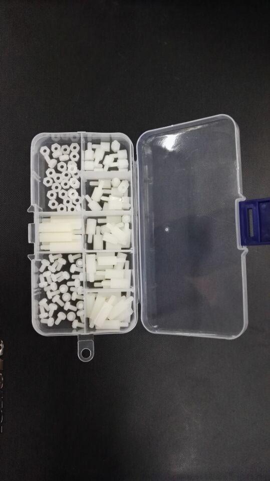 120pcs M3盒装螺丝白色六角单头隔离柱螺母螺丝套装组合