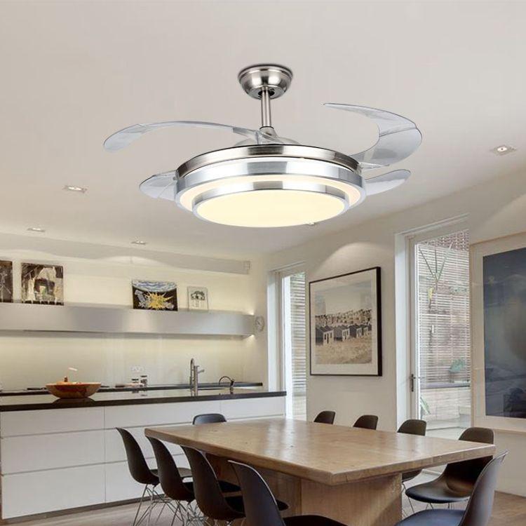 现代简约LED亚克力隐形风扇灯复古静音创意客厅遥控LED隐形风扇灯