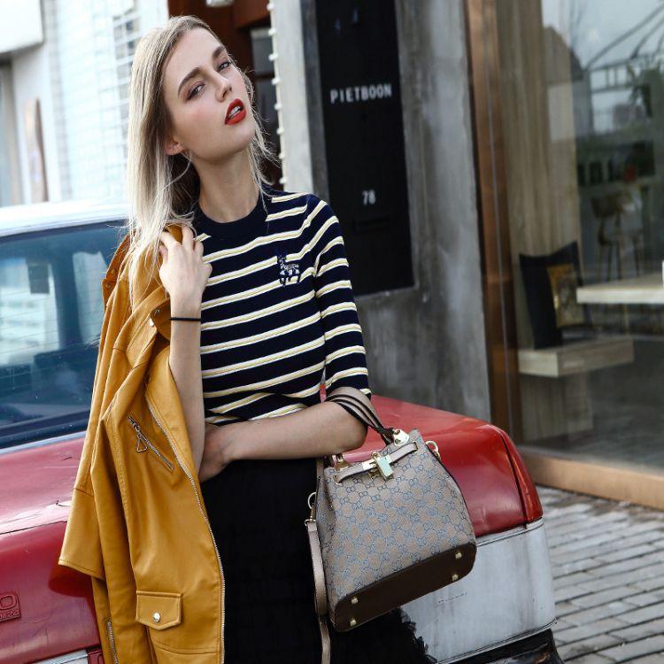香港代购真皮女包2018新款锁头包凯莉包包百搭手提包单肩包斜挎包