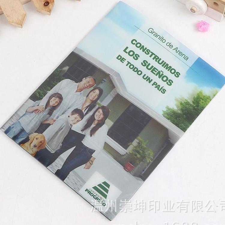 厂家供应a4广告宣传资料夹 pp磨砂彩印双页文件夹 定制logo