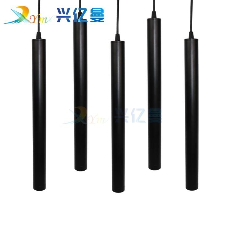 后现代简约长筒圆柱管吧前台装饰led餐厅吊射灯创意黑色单头鱼线