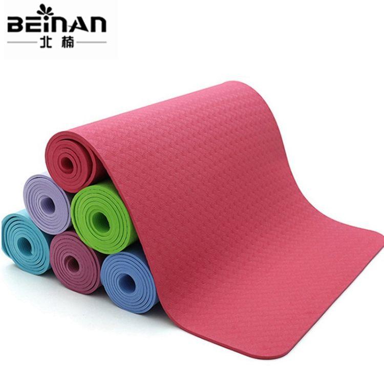供应TPE瑜伽垫定制防滑耐用单色瑜伽垫6mm环保无味多色健身垫便携