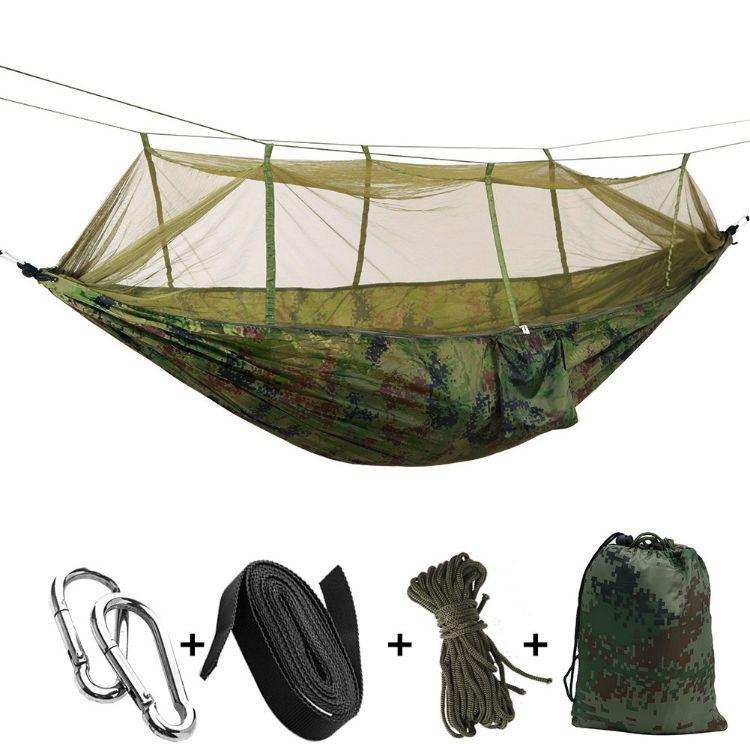 厂家户外双人降落伞布吊床带蚊帐野营数码迷彩军绿2.6*1.4