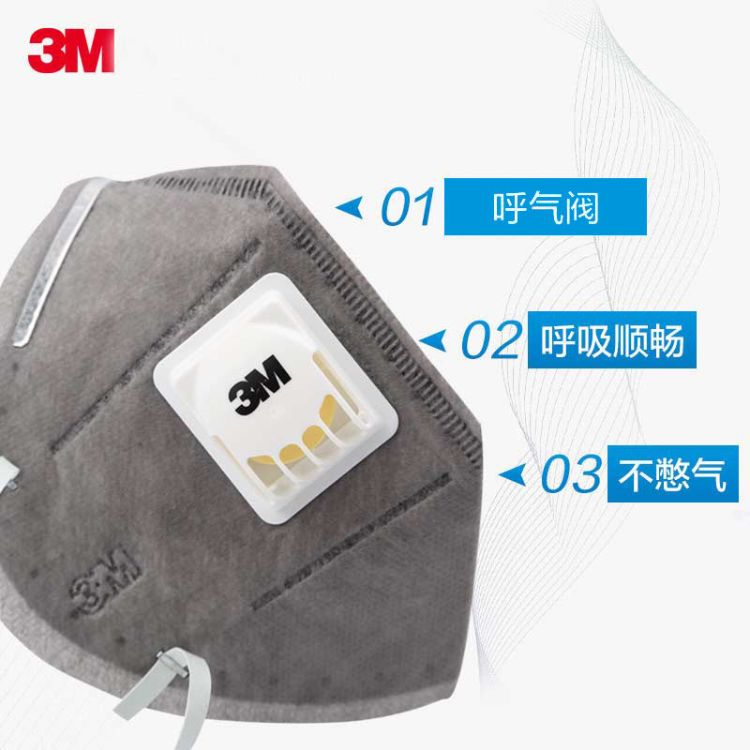 3M 9041V自吸式颗粒物活性炭带呼气阀防尘口罩
