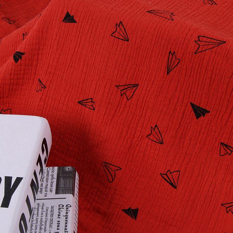 厂家直销全棉双层绉布料纯棉印花纱布肌理皱棉布文艺童装面料现货