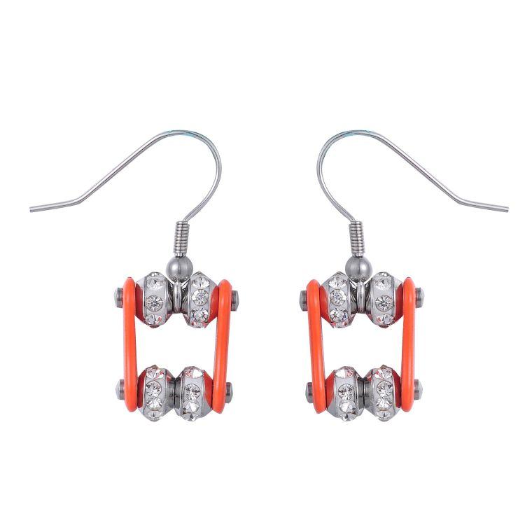 不锈钢镶钻单车链耳环 个性饰品速度与激情系列耳坠 小额饰品批发