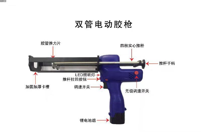 电动胶枪美缝施工工具只能液压省力打胶瓷砖美缝双管胶枪液压枪