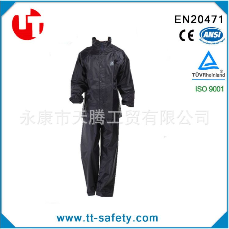 厂家直销  涤塔夫材质PVC雨衣整套 双层 带有帽子 安全防护雨衣
