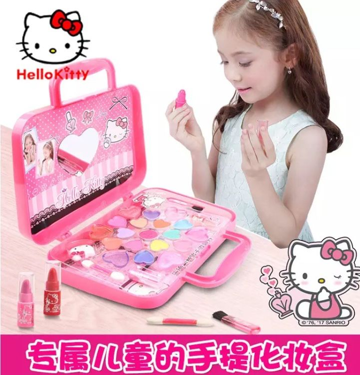 凯蒂猫儿童化妆品套装玩具环保小手袋女孩小学生彩妆盒公主化妆盒