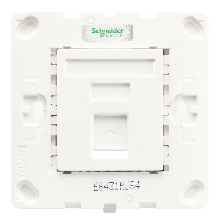 施耐德墙壁插座E8431RJS/5 WE 轻点 单联超五类八线信息插座 白
