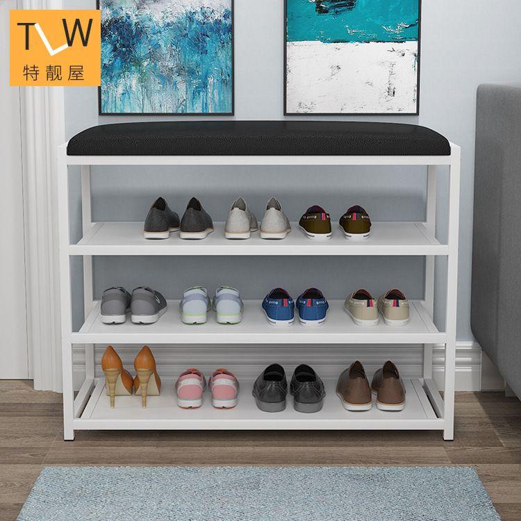 简约现代简易换鞋凳多功能门口鞋柜家用多层铁艺组装鞋架厂家直销