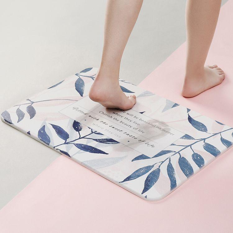 北欧大理石纹浴室卫生间速干地垫吸水硅藻泥脚垫卫浴硅藻土洗手间