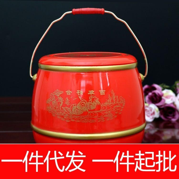 红色大号子孙桶新娘陪嫁结婚新款摆配件子孙桶三件套装婚庆用品